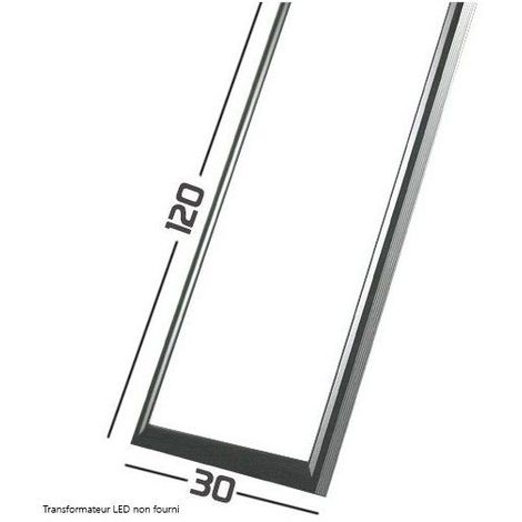 Dalle LED Cadre Aluminium Gris -SMD Samsung - 120x30cm - 75W