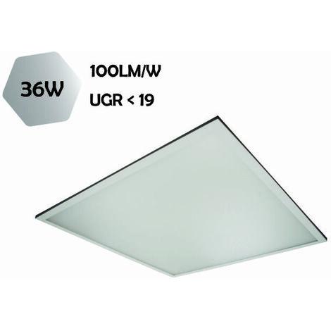 DALLE LED PMMA 600x600 MM 36W (EQUIV. 4X18W) 3600 LM BLANC NEUTRE (4000K) UGR19