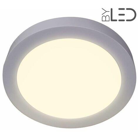 Dalle LED ronde en saillie / plafonnier - 18W - 230V (bonny-18) | Variation de lumière Non dimmable - Température de couleur Blanc Chaud - Finition Blanc - Puissance (en Watts) 18 W