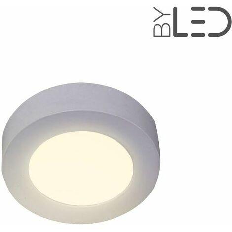Dalle LED ronde en saillie / plafonnier - 6W - 230V (bonny-6) | Variation de lumière Non dimmable - Température de couleur Blanc Chaud - Finition Blanc - Puissance (en Watts) 6 W
