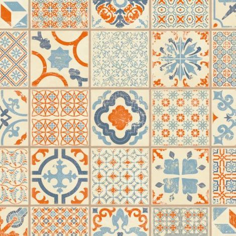 Dalle PVC Clipsable - Tarkett Starfloor Click 30 - Retro Orange Blue - Carreaux de ciment - Paquet de 1,68m²