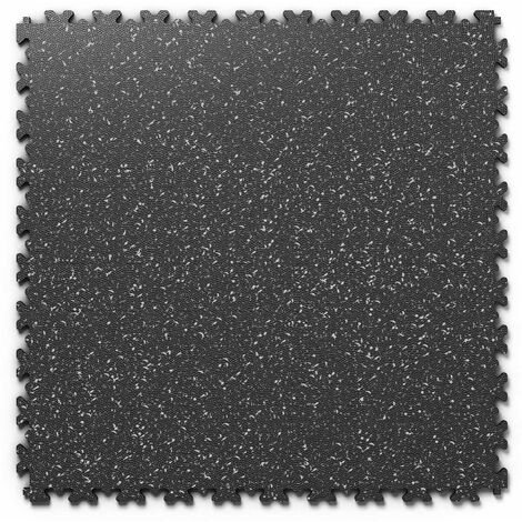 "Dalle PVC garage Fortelock Industry Print ""Skin Noir 01"" - 50 x 50 cm (4 dalles = 1 m²)"