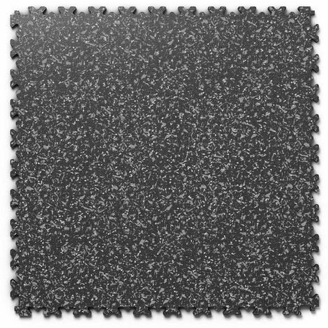 "Dalle PVC garage Fortelock Industry Print ""Skin Noir 02"" - 50 x 50 cm (4 dalles = 1 m²)"