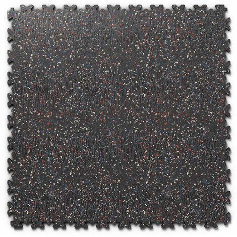 "Dalle PVC garage Fortelock Industry Print ""Skin Noir 04"" - 50 x 50 cm (4 dalles = 1 m²)"