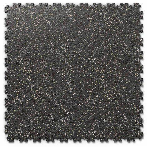 "Dalle PVC garage Fortelock Industry Print ""Skin Noir 05"" - 50 x 50 cm (4 dalles = 1 m²)"