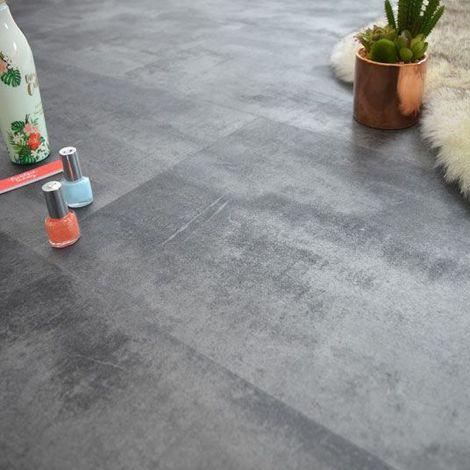 Dalle sol PVC - Click à plat - Béton Gris Métallisé (Stone 40995) - Paquet de 1,49m²