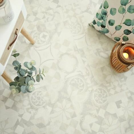 Dalle sol PVC Clipsable - Click 5G - Carreaux de ciment beige clair