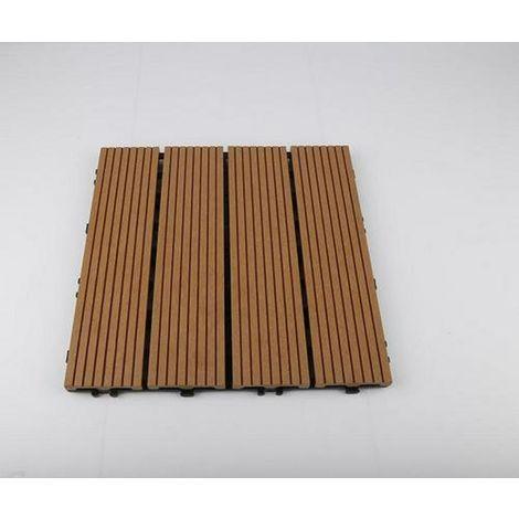 Dalle Terrasse Bois Composite clipsable - Brun Exotique - Lot de 11 dalles 30*30cm