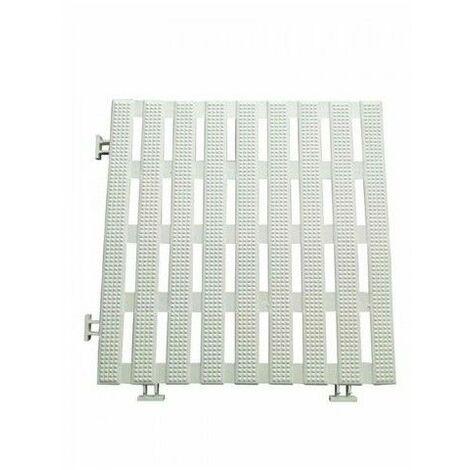 Dalles caillebotis anti-dérapant 1.2 m2 blanc (12 dalles) PVC étanche 30 x 30 cm