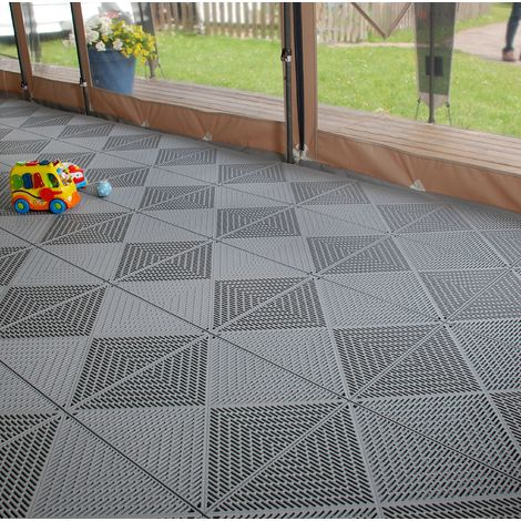 "DALLES CLIPSABLES pour TERRASSE, PISCINE, BALCON I dalles en Polypropylène BERGO UNIQUE ""Graphite Grey"""