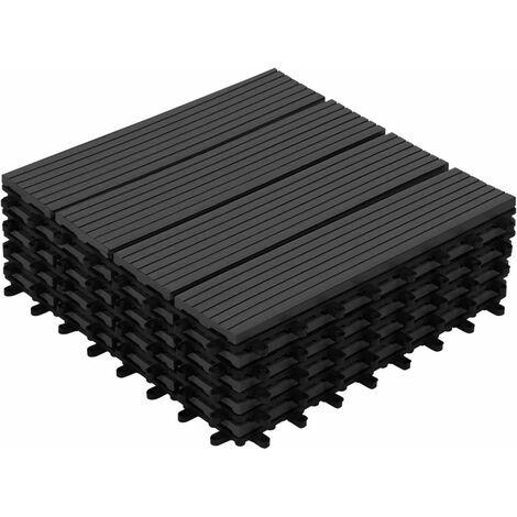Dalles de terrasse X5 clipsables bois composite noire