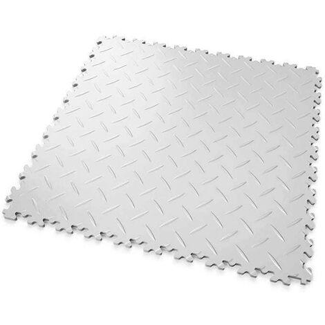 """DALLES MOSAIK PVC Blanc - GARAGE, ATELIER - Épaisseur 5mm """"Surface Tôle Larmée"""""""
