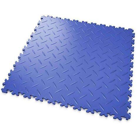 """DALLES MOSAIK PVC Bleu - GARAGE, ATELIER - Épaisseur 7mm """"Surface Tôle Larmée"""""""
