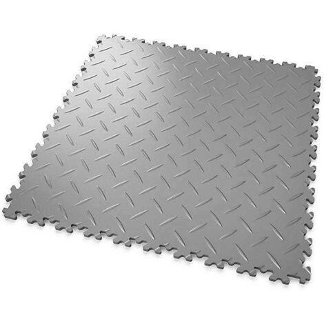 """DALLES MOSAIK PVC Gris-Clair - GARAGE, ATELIER - Épaisseur 7mm """"Surface Tôle Larmée"""""""