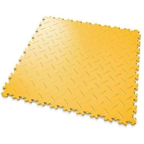 """DALLES MOSAIK PVC Jaune - GARAGE, ATELIER - Épaisseur 5mm """"Surface Tôle Larmée"""""""