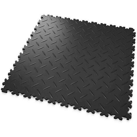 """DALLES MOSAIK PVC Noir - GARAGE, ATELIER - Épaisseur 7mm """"Surface Tôle Larmée"""""""