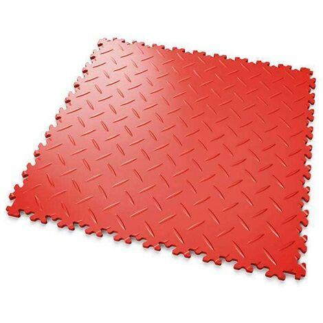 """DALLES MOSAIK PVC Rouge - GARAGE, ATELIER - Épaisseur 5mm """"Surface Tôle Larmée"""""""