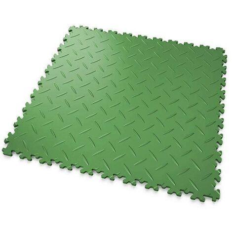 """DALLES MOSAIK PVC Vert - GARAGE, ATELIER - Épaisseur 7mm """"Surface Tôle Larmée"""""""