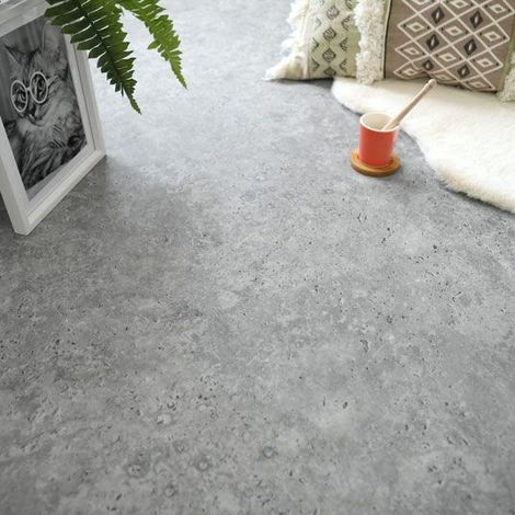 Dalles sol PVC - Click à plat - Pierre Calcaire grise (46942)