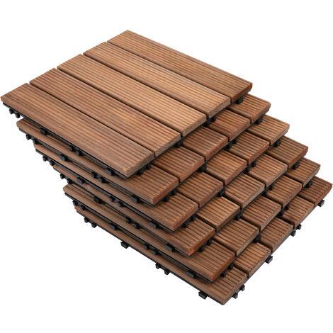 Dalles terrasse - caillebotis - lot de 27 pcs, surface max. 2,5 m²- emboîtables, installation très simple - carreaux bois sapin teinté brun