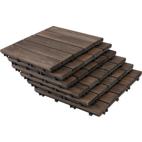 Dalles terrasse emboîtables - lot de 27 pcs, surface max. 2,5 m² - sapin teinté