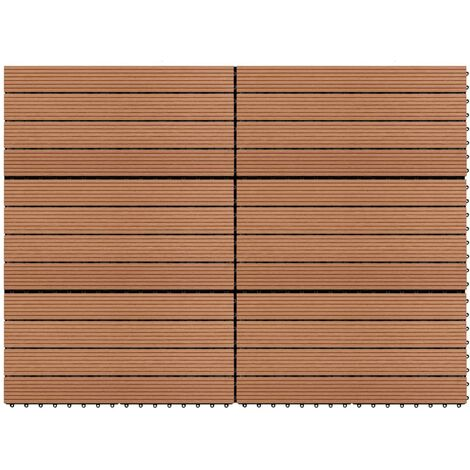 Dalles WPC 60x30 cm 6 pcs 1m2 Marron