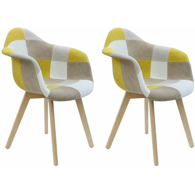 DAMAS - Lot de 2 Fauteuils Patchwork Jaunes - Jaune