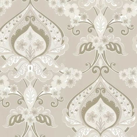Damask Floral Flower Wallpaper Cream & Gold Paste The Wall Traditional Luxury