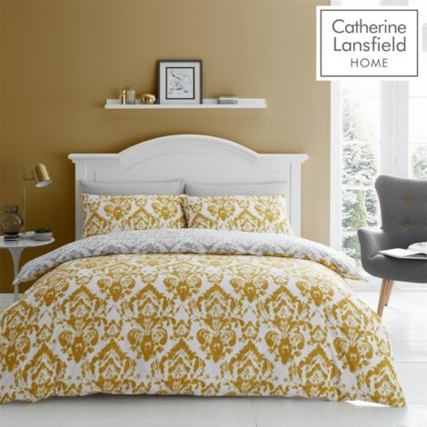DAMASK OCHRE QUILT SET SINGLE