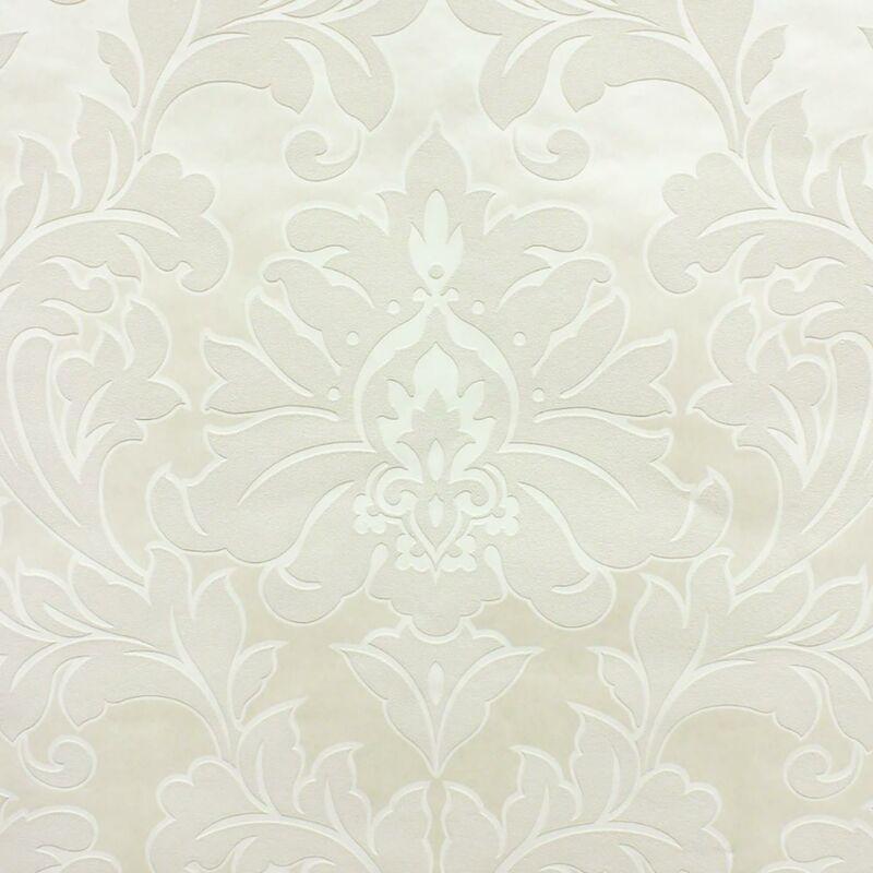 Graham&brown - Damask Super Fresco Wallpaper Textured Embossed Cream Graham Brown