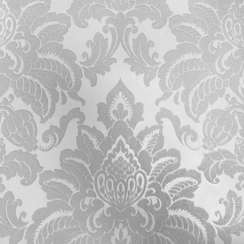 Image of Imagine - Damask Wallpaper Glisten Glitter Sparkle Luxury Weight Textured Silver Arthouse