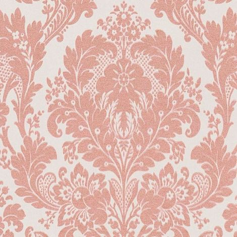 Damask Wallpaper Gold Glitter Sparkly White Rose Embossed Vinyl AS Creation