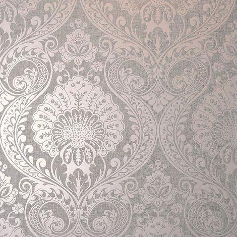 Damask Wallpaper Grey Rose Pink Metallic Shimmer Textured Arthouse Decoris
