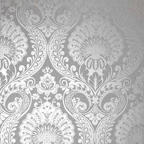 Damask Wallpaper Grey Silver Metallic Shimmer Textured Luxury Arthouse Decoris