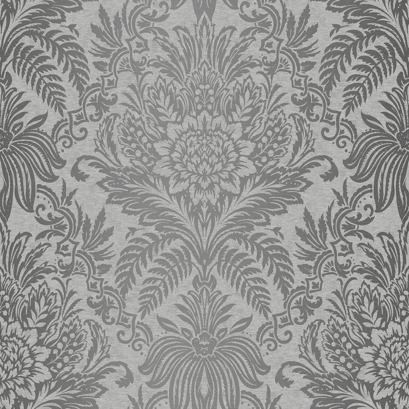 Damask Wallpaper Luxury Silver Grey Metallic Shiny Floral Leaf