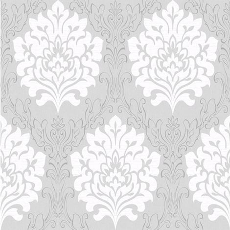 Damask Wallpaper Marrakesh Textured Metallic Grey White Embossed