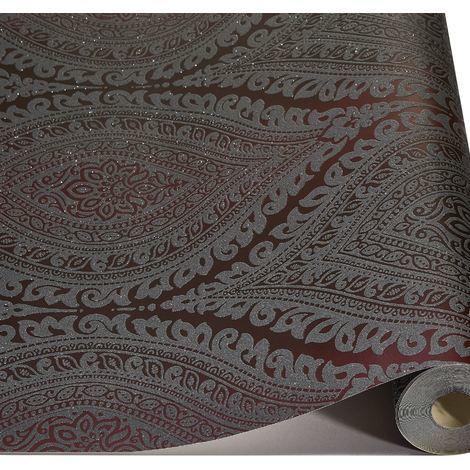 Damask Wallpaper Metallic Glitter Sparkle Textured Embossed Luxury Vinyl Plum