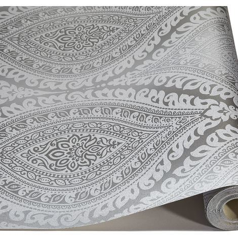 Damask Wallpaper Metallic Glitter Sparkle Textured Embossed Luxury Vinyl Silver