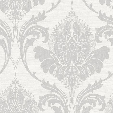 Damask Wallpaper Modern Metallic Linen Sheen Effect 2 Colours Zahra Crown
