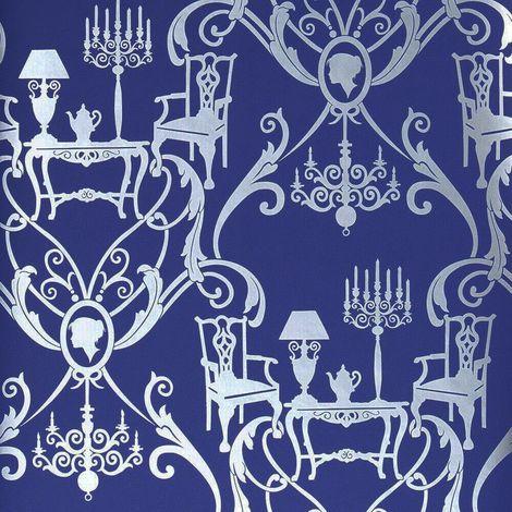 Damasquerade Blue Navy Silver Wallpaper Dining Room Metallic Damask Candle