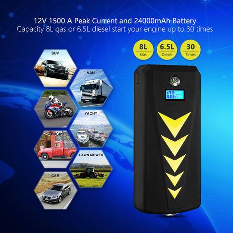 Damay Tragbare Auto Starthilfe Powerbank 24000mah Mit 1500a Spitzenstrom Jump Starter 12v Autobatterie Anlasser Mit Lcd Display Qc3 0 Ausgang Typ C Anschluss Fur Laptop Smartphone Aftc1102