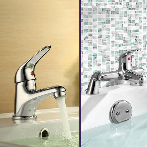 "main image of ""Dame Bathroom Basin Mono Mixer Tap, Bath Filler Tap & Waste Chrome"""