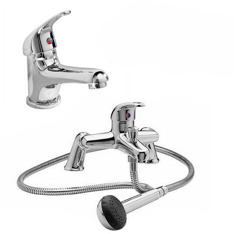 Dame Bathroom Basin Mono Mixer Tap & Bath Shower Mixer Tap Chrome