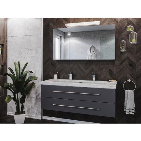 Damo anthracite avec double vasque en marbre Carrara White 130cm & miroir à LED