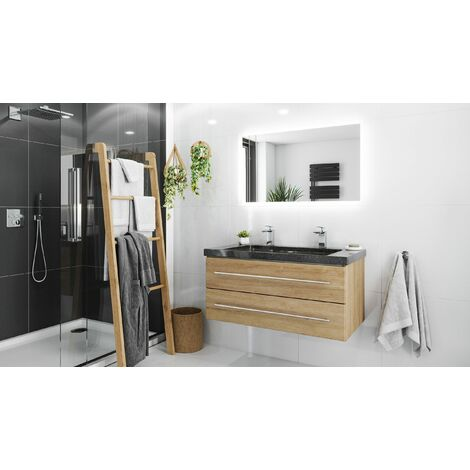 Damo avec double vasque en granit Galaxy Black 100cm & miroir à LED