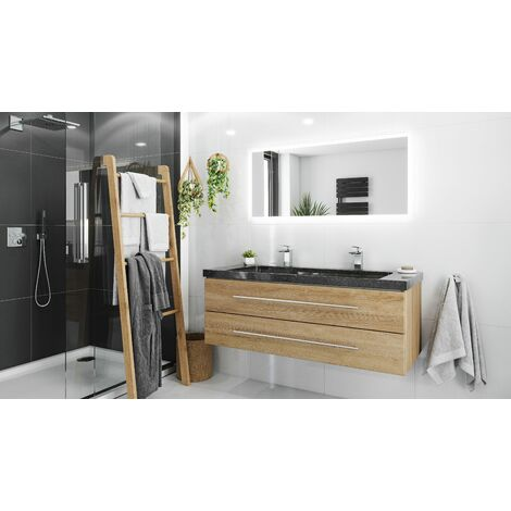 Damo avec double vasque en granit Galaxy Black 130cm & miroir à LED