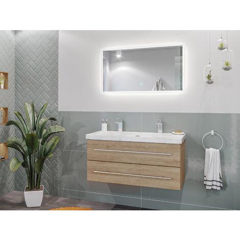 Damo avec double vasque en marbre Carrara White 100cm & miroir à LED
