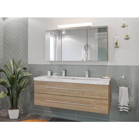Damo avec double vasque en marbre Carrara White 130cm & miroir à LED