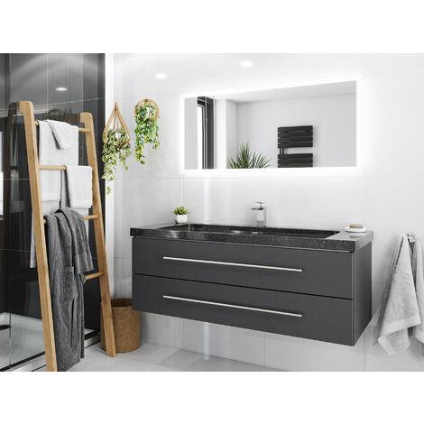 Damo avec simple vasque en granit Galaxy Black 130cm & miroir à LED