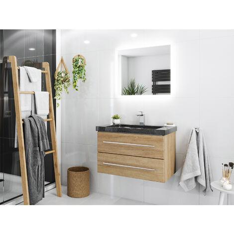 Damo avec simple vasque en granit Galaxy Black 75cm & miroir à LED